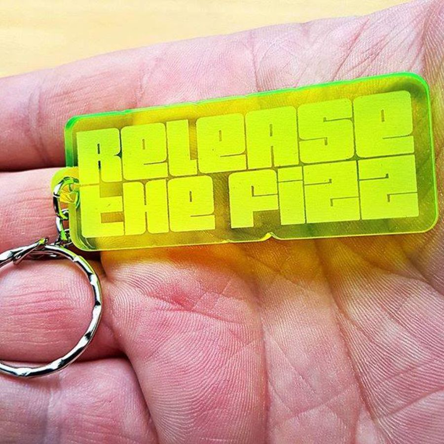 Neon Green Release the Fizz Keyring