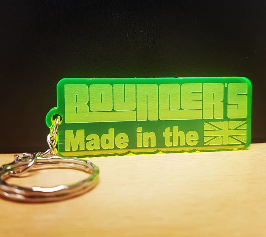 Neon Yellow/Green 'Made in the U.K  Keyring