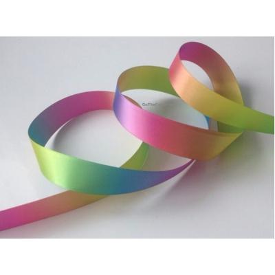 Sunburst rainbow 22mm wide satin double faced ribbon