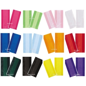 30 Coloured Cellophane party bags & twist ties