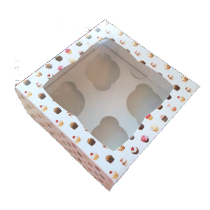 Pattern cupcake box with insert & Clear Window holds 4 cakes