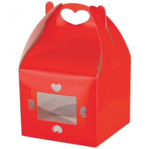 Red heart glossy cupcake boxes 2pk + insert