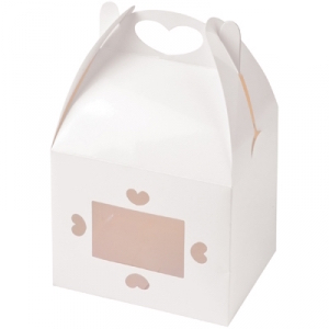 2 Favour cookie boxes white love heart glossy gift wedding