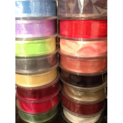 1m Satin edge organza ribbon 25mm wide