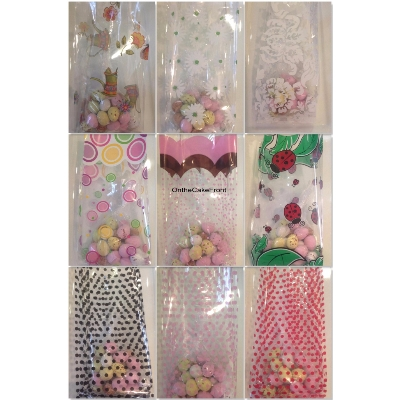 10 Pattern cellophane gusset bags