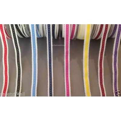 1m Centre stitch print 15mm wide scalloped ribbon