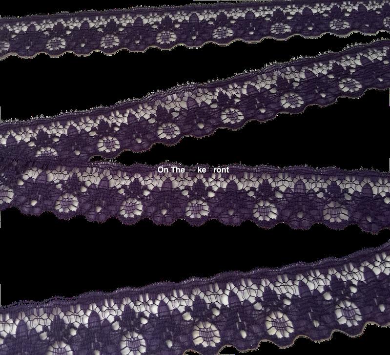 1m Deep Purple lace ribbon 22mm wide