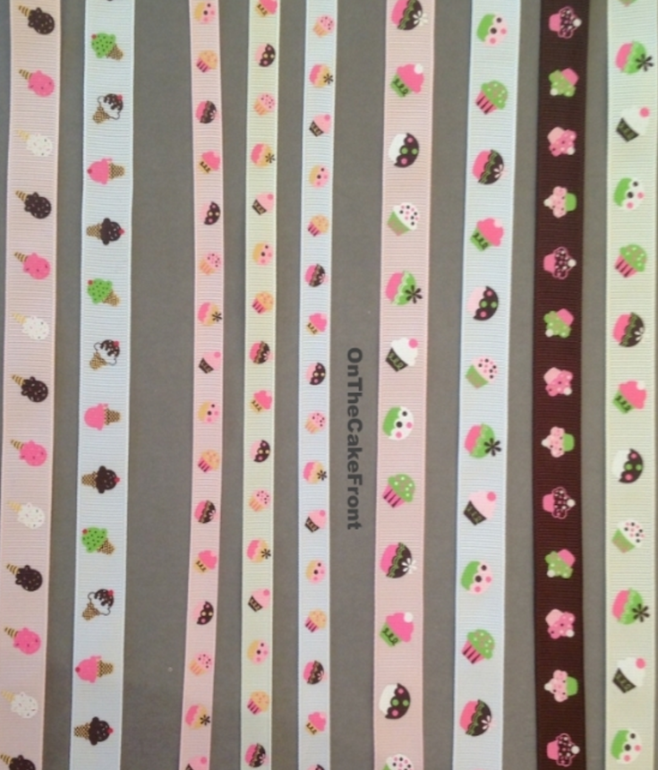 Cupcake Ice cream grosgrain ribbon 1m