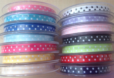 Satin ribbon polka dots 10mm Wide full roll