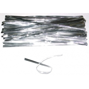 50 Silver metallic twist bag ties 6 inch