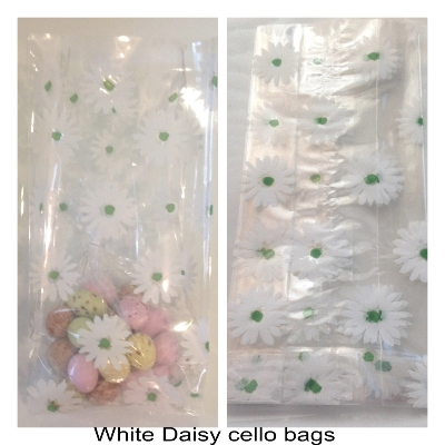 10 White daisy flower cello gusset bags