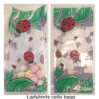 10 Ladybird cello gusset bags