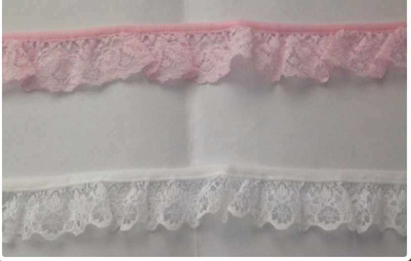 1m Gathered lace ribbon 30mm wide white pink