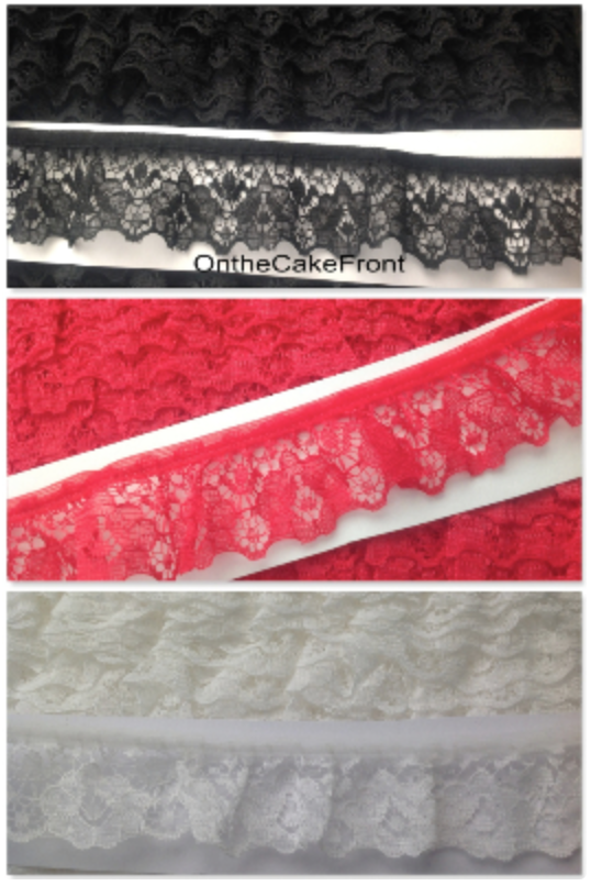 Gathered lace ribbon black ivory red 35mm wide