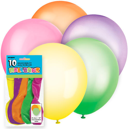 Neon coloured balloons 10 pack