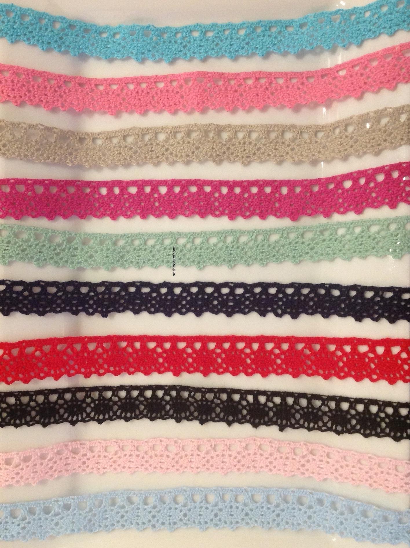 1m Cotton lace coloured ribbon 20mm wide
