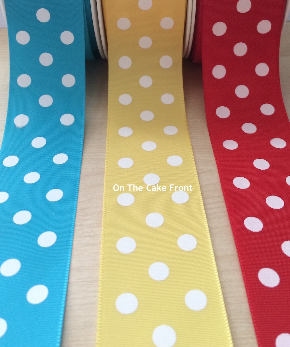 Spotty satin ribbon 38mm wide polka dots