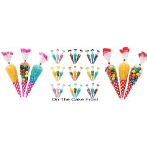 10 Cone shape spotty polka dot cello gift bags