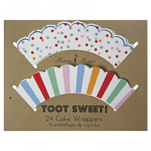 Toot sweet cupcake wrappers 24pk stripes & spots