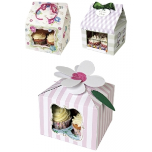 meri meri cupcake box large various designs 3pk, holds 4