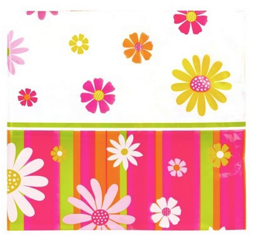 Daisy Stripe table cover flower print party