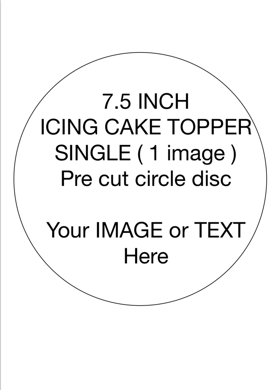 ICING Cake Topper 7.5 inch circle edible picture PRE CUT
