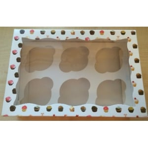 Pattern cupcake box with insert & Clear Window holds 6 cakes
