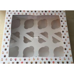 Pattern cupcake box holds 12 cakes window & insert