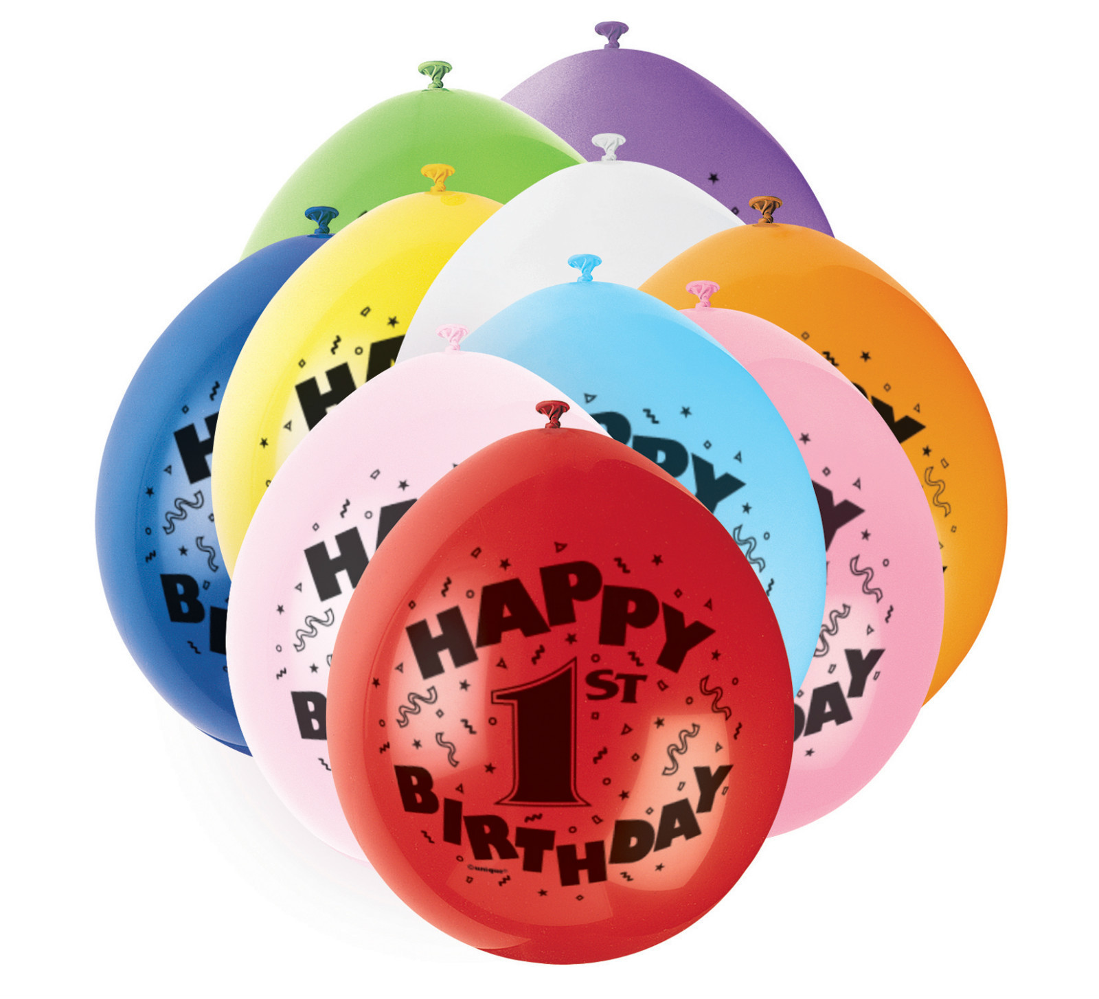 Age 1st Happy Birthday party balloons 10 pack