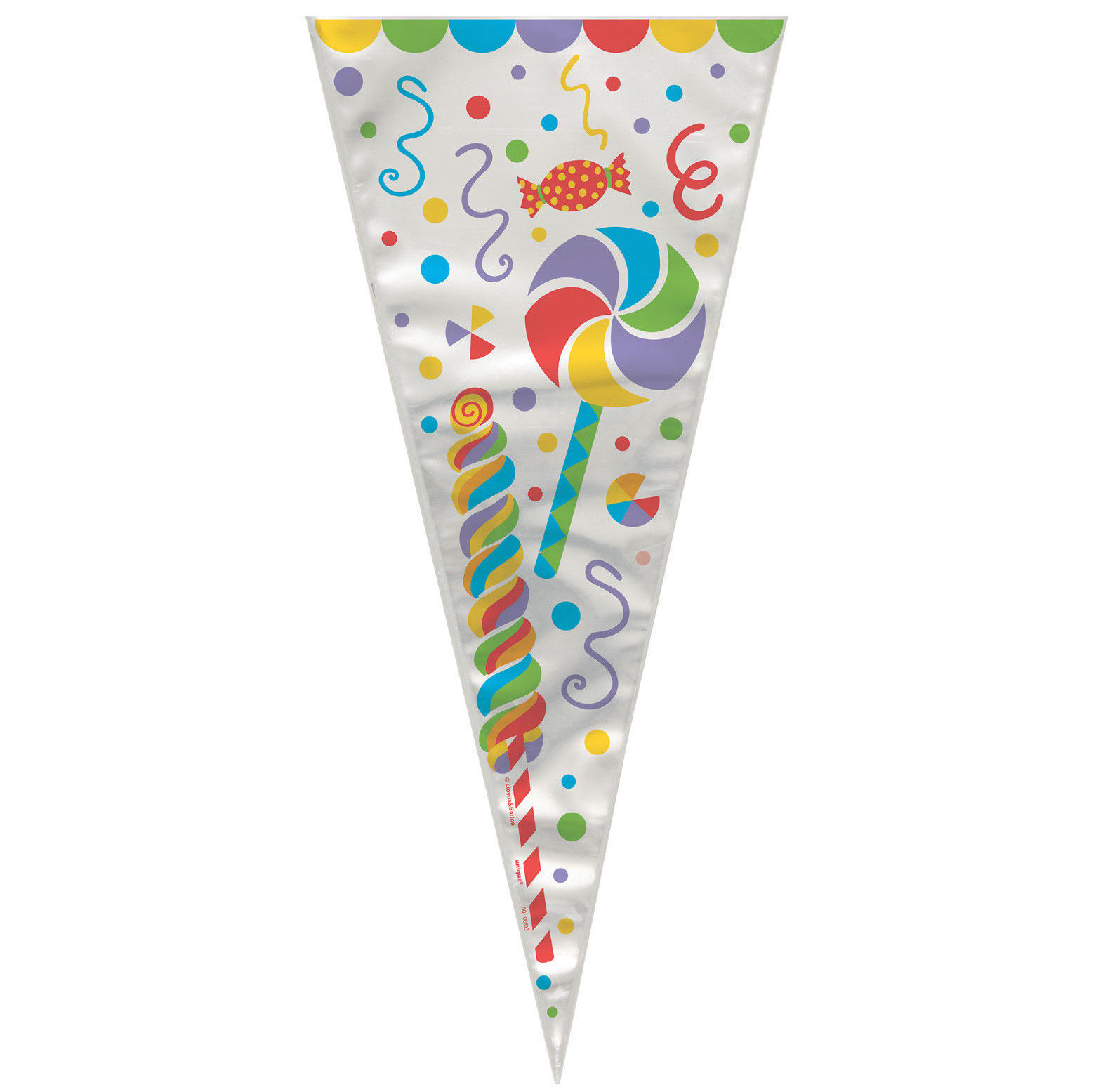 20 Candy Party pattern cone shape cellophane bags with twist ties