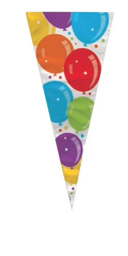 20 Balloons pattern cone shape cellophane bags & twist ties