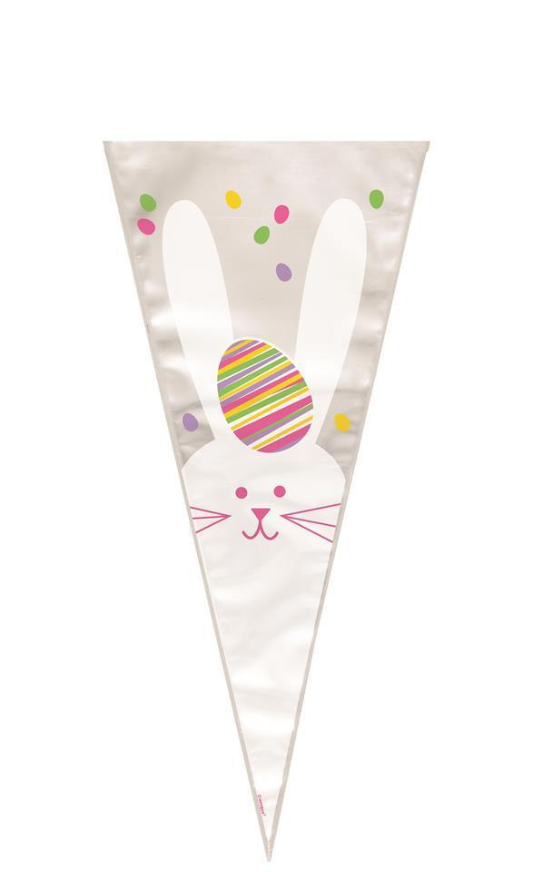20 Bunny rabbit Easter pattern cone shape cellophane bags with twist ties