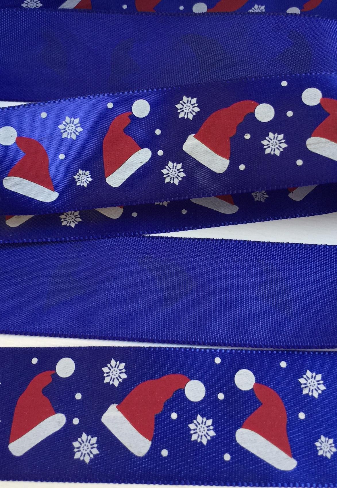 1m Blue santa hats snowflake Christmas ribbon 25mm wide