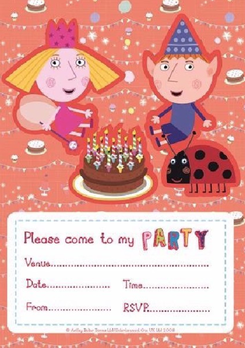 20 Ben & Holly birthday party invitations & envelopes