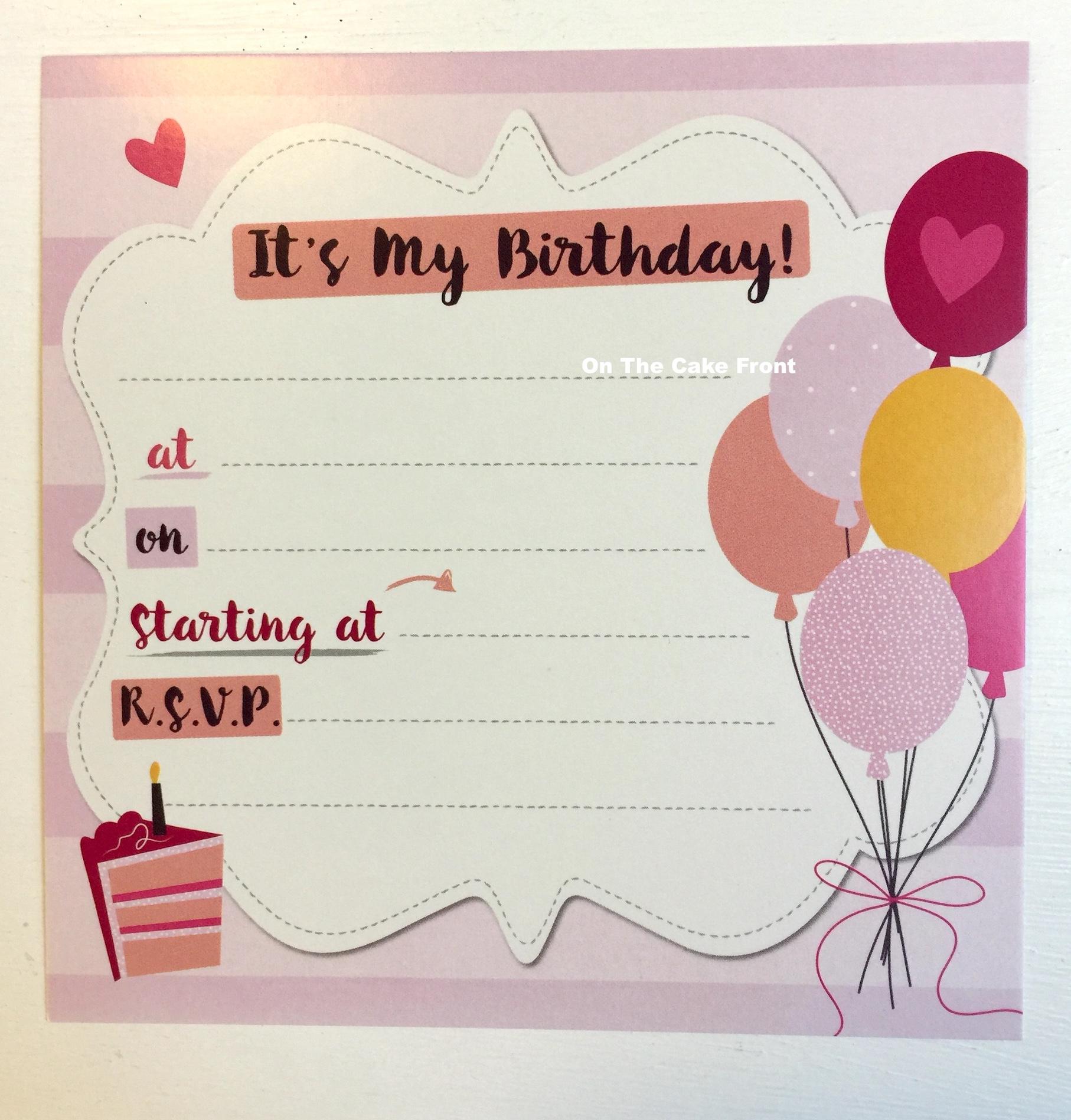 16 Pink balloons & birthday cake party invitations & envelopes