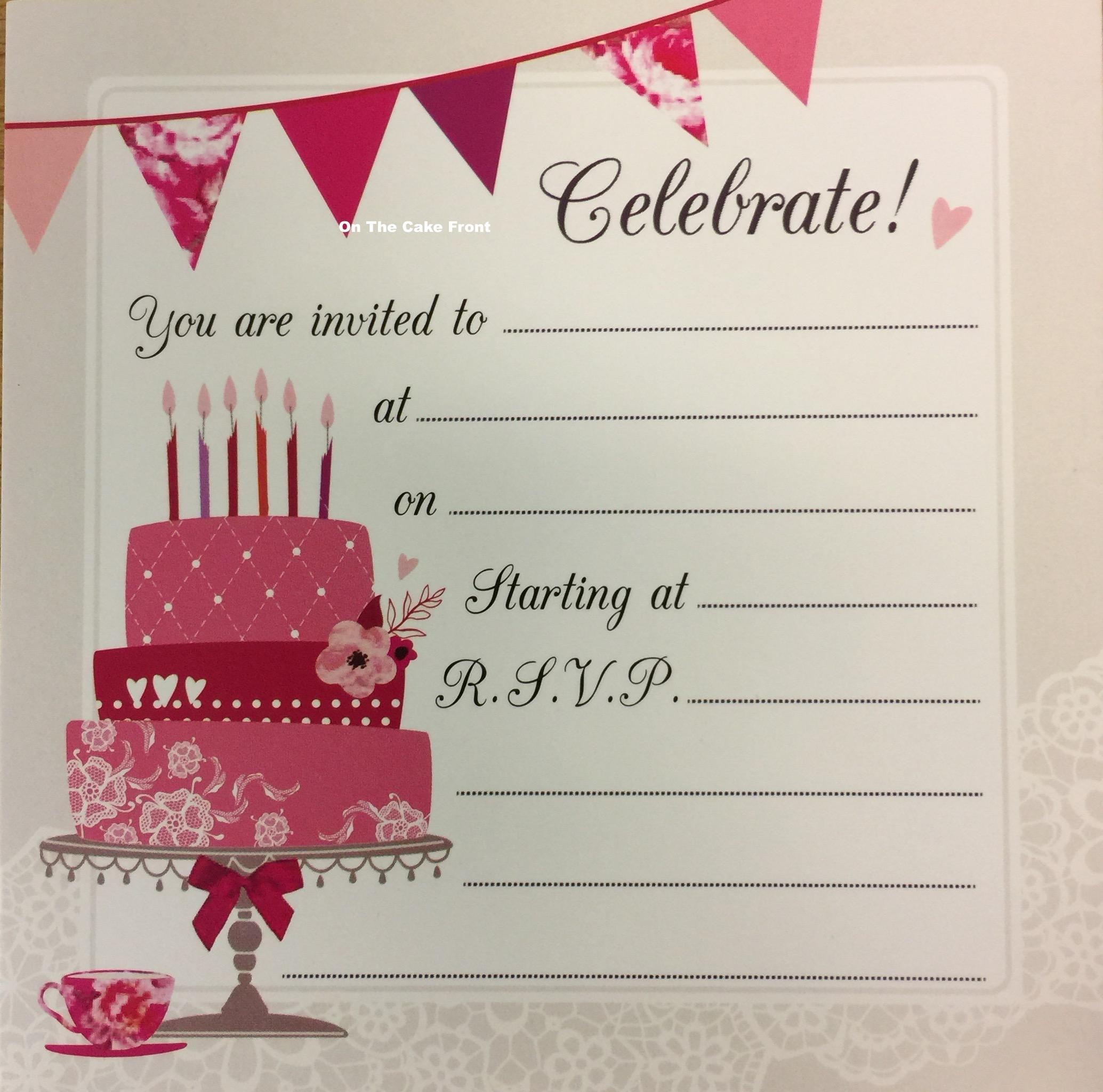 16 Celebrate vintage birthday cake party invitations & envelopes