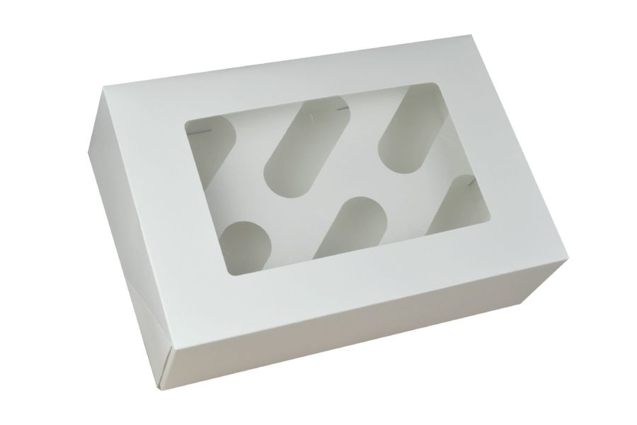 White cupcake box clear window & insert holds 6
