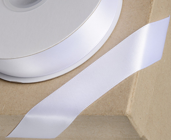 White 38mm Double-sided Satin Ribbon 1m