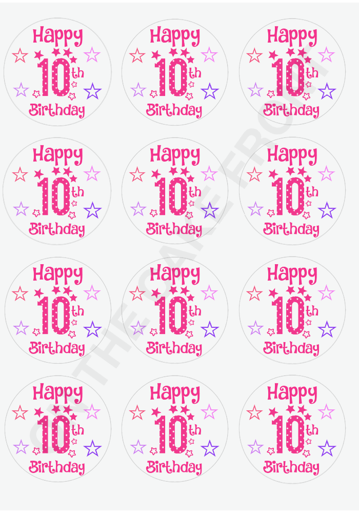 12 Happy 10th Birthday Girls Pink Stars Cupcake Toppers Wafer