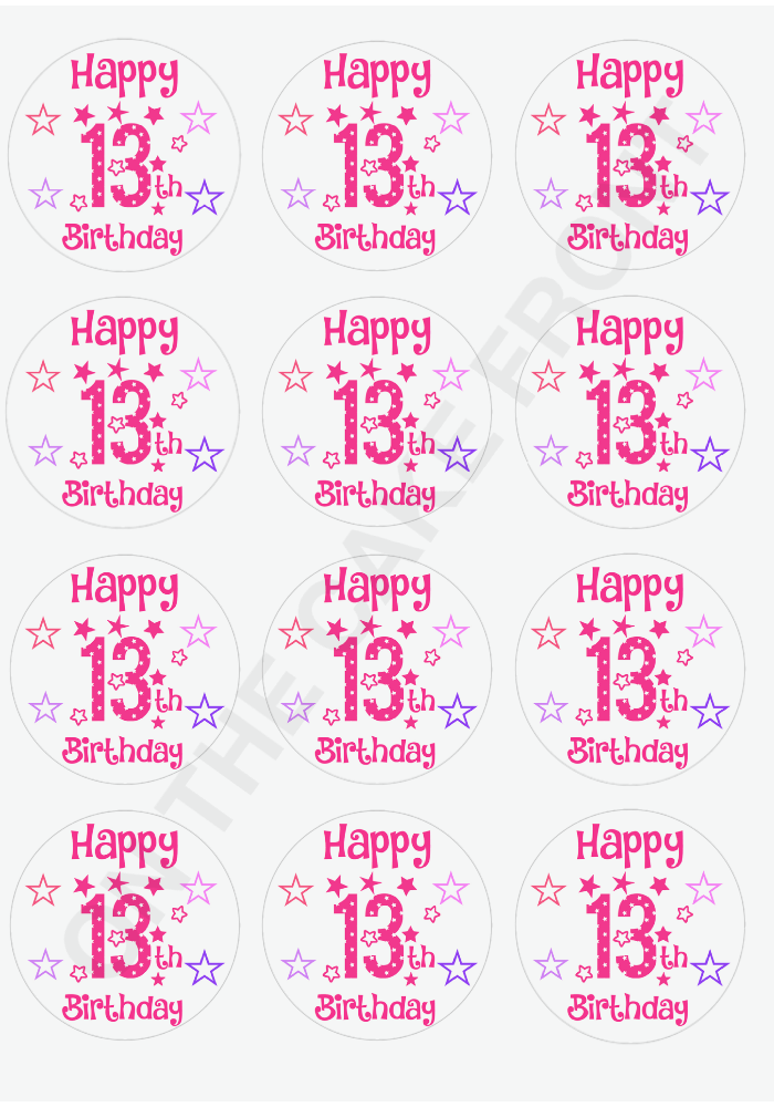 12 Happy 13th Birthday Girls Pink Stars Cupcake Toppers Wafer