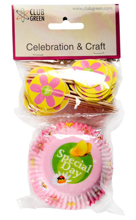 50 Pink Special Day paper cupcake cases & picks