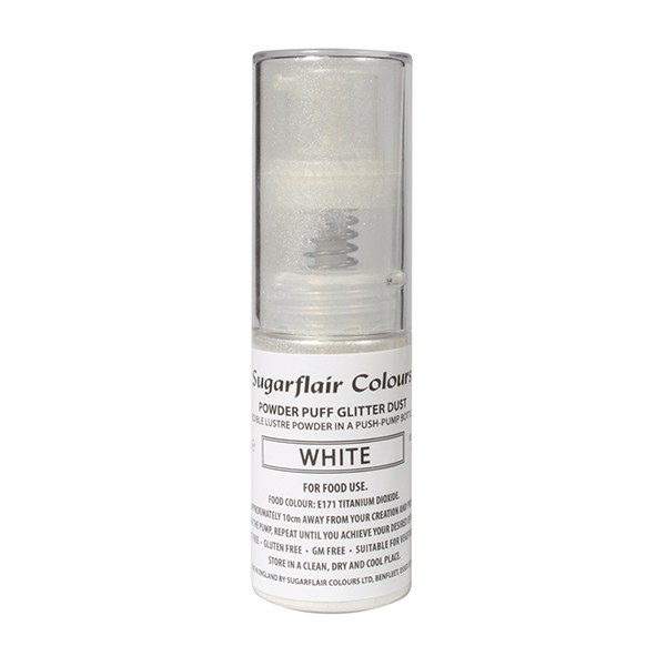 White Sugarflair glitter dust pump spray 10g