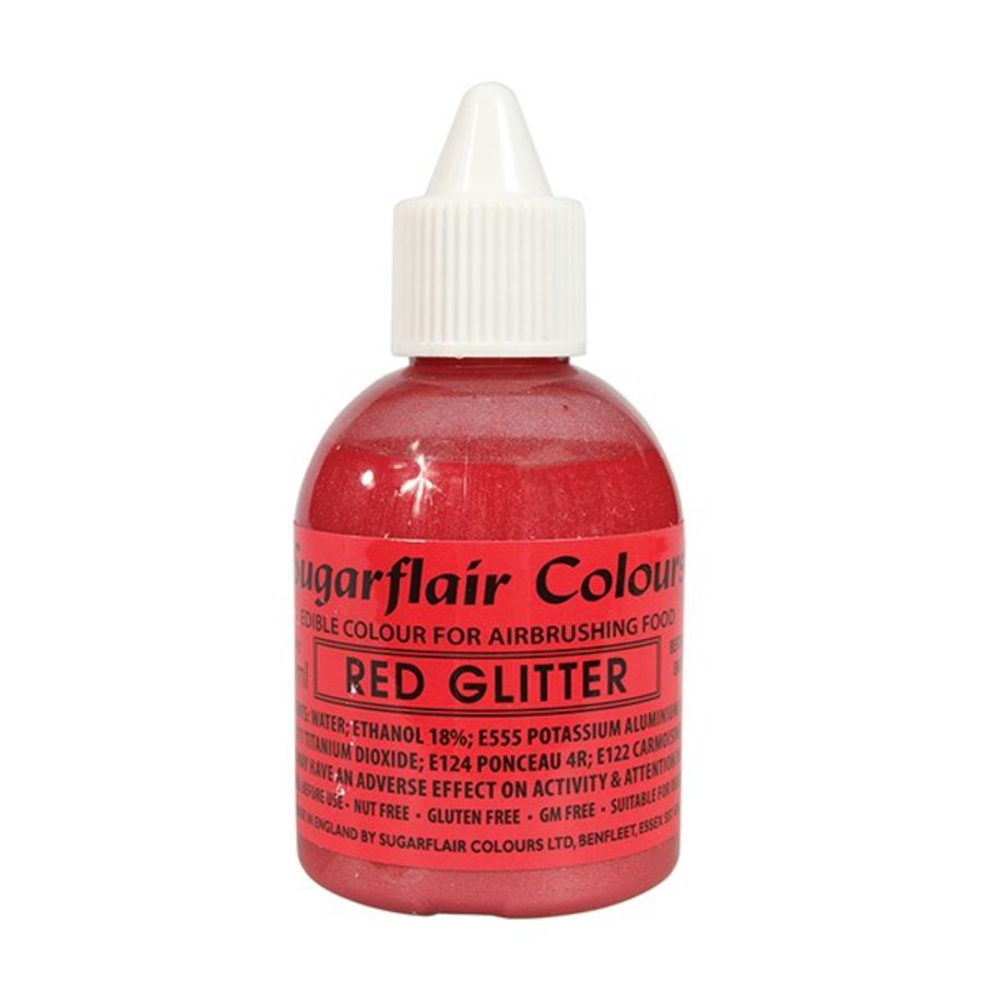 Sugarflair Airbrush Colour Red Glitter 60ml