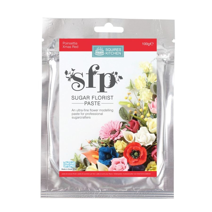Poinsettia (Xmas Red) Squires sugar flower paste (SFP) 100g