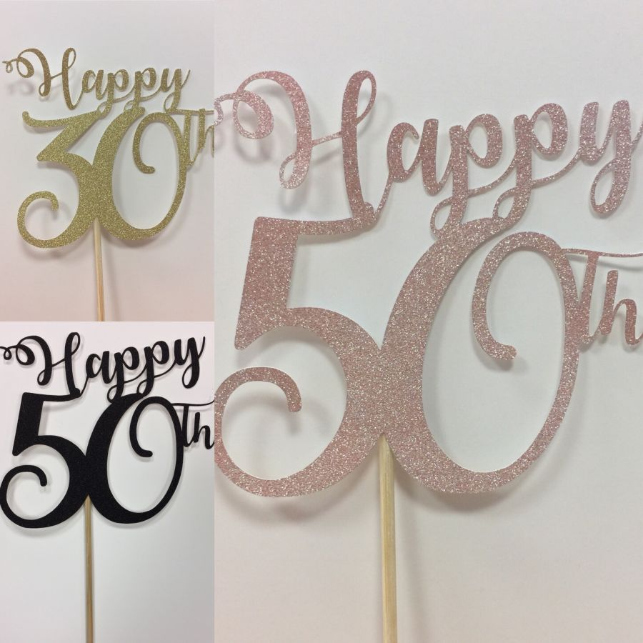 Happy any age number glitter card cake topper