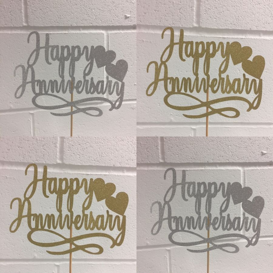 Happy Anniversary Swirls Hearts Glitter Card Cake Topper