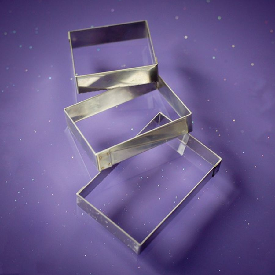 3 Rectangle Cutters Purple Cupcakes
