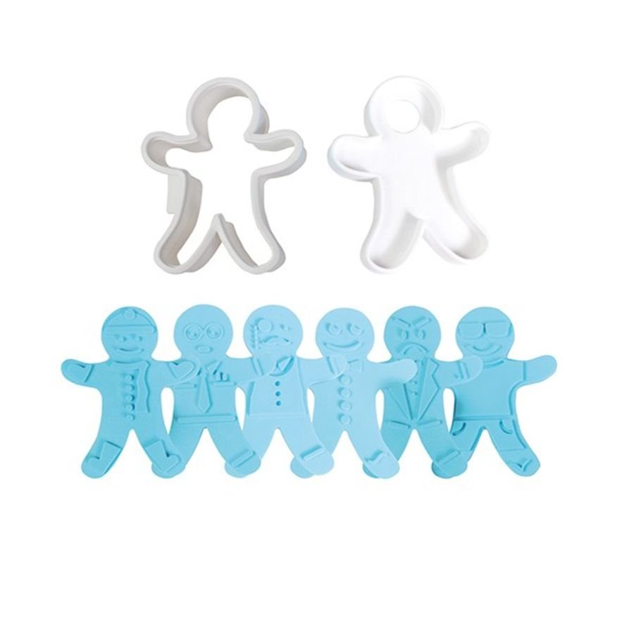 Gingerbread Man Cutter and 3 reversible embossers - 5 pieces