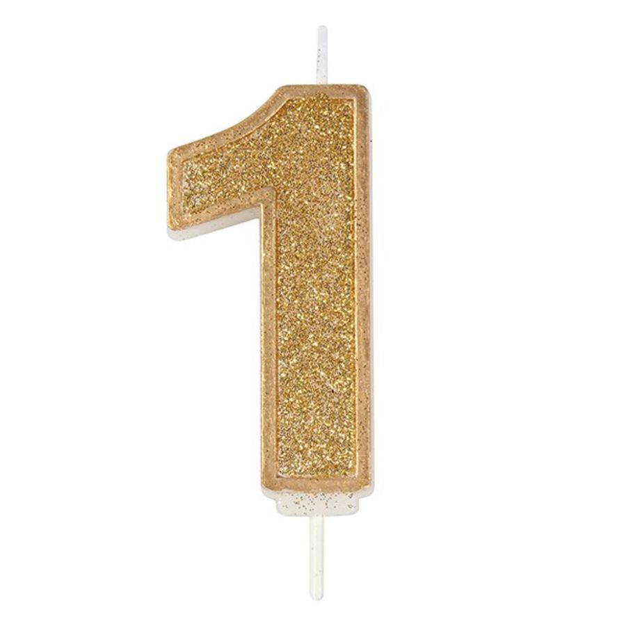 Number 1 GOLD Sparkle Glitter Candle 70mm
