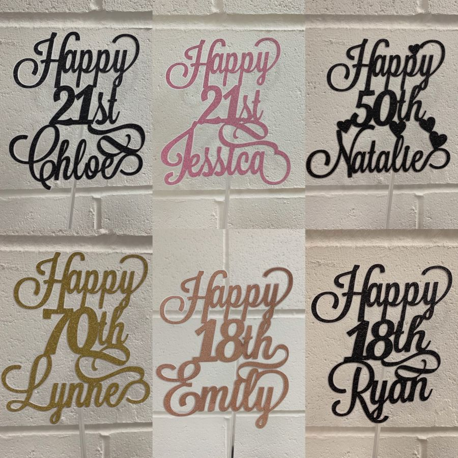 Happy Birthday Name Age Cake Card Topper Double Thick